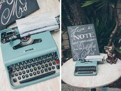 Cutest guest book idea Ive ever seen!! Old typewriter. I especially love the sign! Leave and note and wishes for the new Mrs and Mrs! You should really go through this whole blog, its a lesbian indian wedding and its BREATHTAKINGLY beautiful!!
