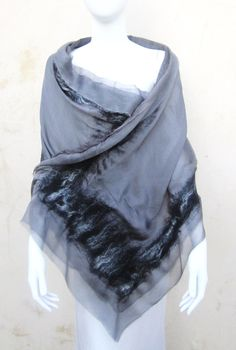 Grey Silk Nuno Felt Wrap by juliaheartfelt on Etsy, $159.00  Maybe ironed and felted hem instead of sewing??