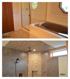 Before and After bathroom shower remodel.