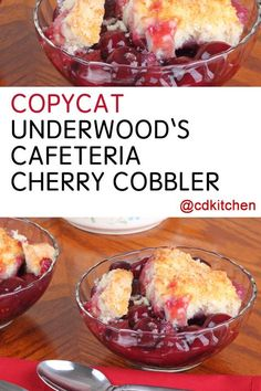 Made with butter red food coloring cherries flour shortening all-purpose flour water sugar salt Fruit Cobbler, Cherry Cobbler, Cobbler Recipe, School Lunch Recipes, School Lunches, Cafeteria Food, Great Recipes, Favorite Recipes, Cherry Recipes