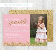 Printable gold glitter invitation Pink and by PrettiestPrintShop