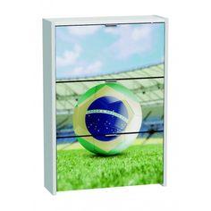 Armario Zapatero de tres Trampones Blanco Brasil en material de aglomerado melaminizado con un grosor de tablero laterales y tapa 25mm con un canto 0´4mm de PVC viene decorado con una fotografia.