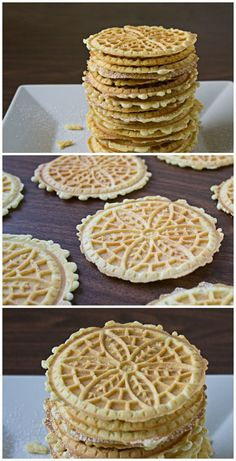 Memories of Holidays in an Italian family.Pizzelle Italian Cookies are light and crunchy with just a hint of sweetness. Great on your holiday cookie platter, eaten with coffee, or donated to a bake sale. Cookie Flavors, Cookie Desserts, Just Desserts, Cookie Recipes, Delicious Desserts, Dessert Recipes, Cookie Table, Picnic Recipes, Italian Cookies
