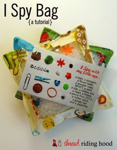 I Spy Bag Tutorial. I use small clear water bottles. So easy to fill and glue the cap on. Then they can roll or shake it to search for things.
