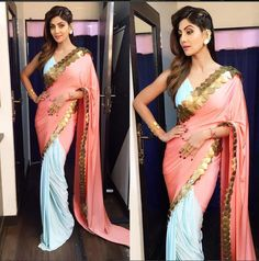 Shilpa Shetty in Pastel Blue and Pink Combination Half and Half Saree by Shivan and Narresh . shilpa shetty beautiful in a shivan and narre. Madhuri Dixit, Shilpa Shetty Saree, Sonakshi Sinha, Anamika Khanna, Sabyasachi, Indian Bollywood Actress, Bollywood Saree, Bollywood News, Indian Actresses