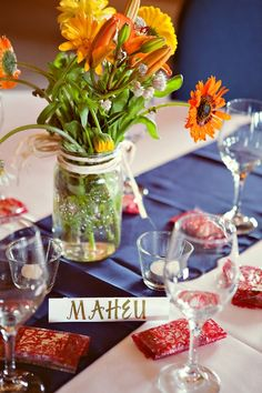 Rustic Wedding Table Decor With Blue Table Linenes-love the maison jars