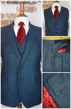 3 piece tweed wedding suit in the wonderful Thornproof tweed by Harrisons of Edinburgh, with very rich red shot satin lining. Visit our website for more gorgeous tweed... http://www.tweedaddict.com/ tweed suit wedding, tweed suit groom, tweed suit men
