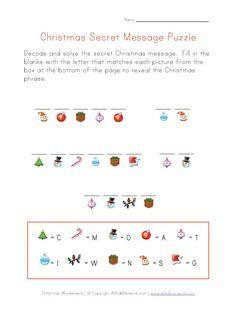 Christmas secret message to print.