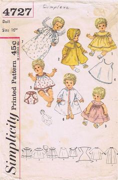 ORIGINAL Doll Clothes PATTERN 4727 Betsy Wetsy Carrie Cries Sweetie Pie 16 inch #PatternforDollClothes #Simpliticy4727