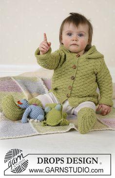 Jacke, Strampler und Socken (Frosch und Teddy 30-14 und Decke 19-14) ~ DROPS Design