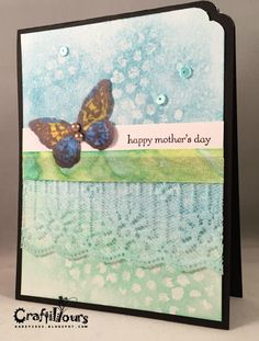 CutAtHome Blog: Tim Holtz Watercolor Mother's Day Cards with Butterflies by Craftily Yours by Karen N