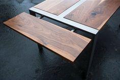 Expandable Walnut Dining Table Steel Frame Custom