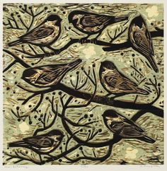 """Small Gathering, 16"""" x 16"""" color woodcut by Kent Ambler"""
