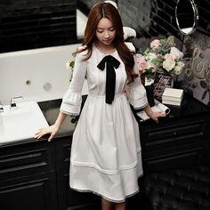 Оригинал 2017 бренд Vestidos Демисезонный плюс Размеры Flare рукавом Высокая талия Элегантный Повседневное лук белый длинное платье Для женщинкупить в магазине Shop120322 StoreнаAliExpress