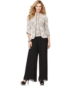 Alex Evenings Jacket and Cami, Three Quarter Sleeve Mandarin Collar Metallic Printed - Womens Dresses - Macy's Wedding Trouser Suits, Pant Suits, Plus Size Ivory Dresses, Mother Of The Bride Plus Size, Suit With Jacket, Look 2018, Mob Dresses, Review Dresses, Mom Outfits