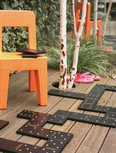 giant outdoor games! giant dominos for the deck or yard... also an idea for the FFA to make out of 1x6 boards and paint & seal them and auction off at the annual banquet... SHE so clever!
