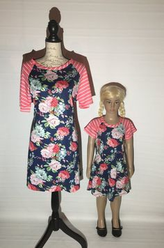 975967479b Mommy and Me Matching Floral Dresses Short Sleeves Blue Pink  Girls  4