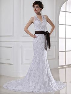 Charming Mermaid Halter Sleeveless Court Train Satin Wedding Dress, $226.00