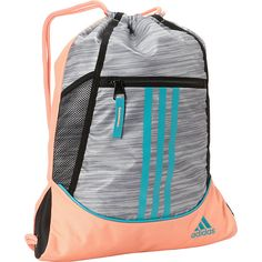 adidas Alliance II Sackpack ($18) ❤ liked on Polyvore featuring bags, backpacks, black, school & day hiking backpacks, stripe backpack, embroidered bags, striped backpack, mesh backpack and backpack bag