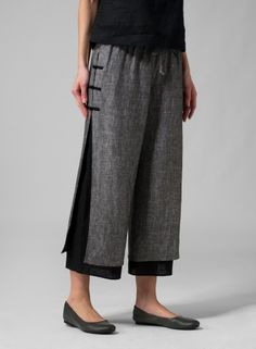Linen Double-Layer Cropped Pants - Two Tone Charcoal/Black