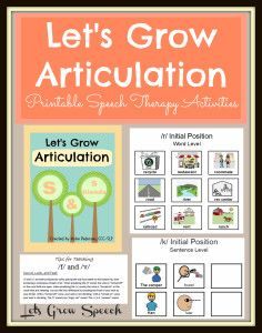 """""""Let's Grow Articulation"""" Speech Therapy Activities for /k/ and /g/, /f/ and /v/, /s/ and /s/ blends, /l/, and /r/... hundreds of themed articulation pages by Let's Grow Speech"""