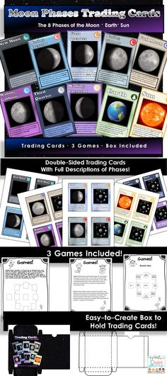 Moon phase trading cards! So fun in the classroom! #teacherspayteachers #moonphases #earthscience
