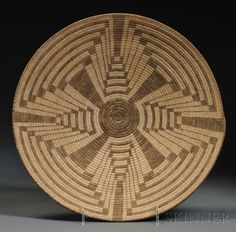Pima Coiled Basketry Tray   Bidsquare