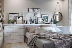 Tête de lit originale avec des rangements