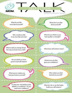 To find out how your children view themselves, use these Self-Esteem TALK conversation starters.