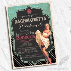 eb84fad1be9 Rockabilly Pinup Bachelorette Party Invitations   Set of 10 Printed