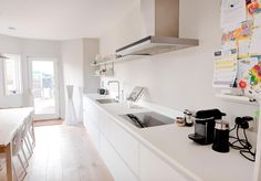 A white matt glass handleless German kitchen in Crouch End, London. The worktop is Corian and the appliances are Miele. This is one of our recent projects. Crouch End, German Kitchen, Corian, Corner Desk, Kitchens, Flat, Projects, Furniture, Home Decor