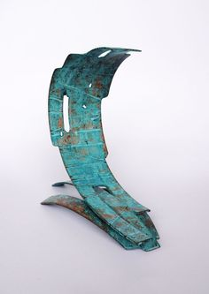 Copper Focal Point Abstract Contemporary Modern sculpture statue #sculpture by #sculptor Philip Melling titled: 'Wave VIII (Modern Patinated Copper sculpture)' #art