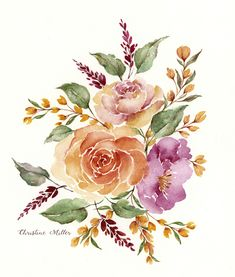 Loose watercolor floral bouquet, roses, pink, painting, art