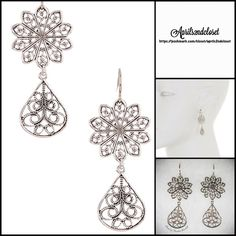 """❗️1-HOUR SALE❗️Silver Filigree Statement Earrings  NEW WITH TAGS    Filigree Silver Flower Cutout Drop Earrings  * Gorgeous cutout flower & leaf design.   * Double drop style.  * They each measure about 1 7/8"""" length.   * French hook back.   Material: Sterling silver plated brass; Made in USA Item:12700  No Trades ✅ Offers Considered*/Bundle Discounts✅  *Please use the 'offer' button to submit an offer. Boutique Jewelry Earrings"""