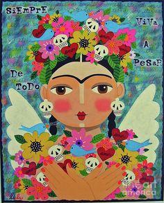 Frida Kahlo With Sombrero And Chihuahuas By Lulu Via Fine Art