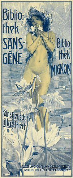 Art Nouveau poster design by Luděk Marold for the German publisher and bookseller Verlag Dr. P. Langenscheidt, ca. 1900.
