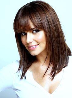 Love this medium length cut. Perfect bangs. #hair #brunette