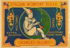 Nocturno clown crescent moon  fruit orange crate label