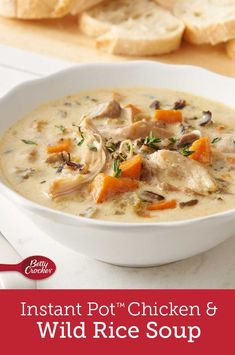 Pressure Cooker Instant Pot Chicken And Wild Rice Soup - Pressure Cooker Chicken And Wild Rice Soup Is A Cream Based Soup Loaded With Chicken Long Grain And Wild Rice Carrots Onion And Celery A Warm Hearty Soup Recipe For Cold Snowy Days Its One Crockpot Recipes, Soup Recipes, Chicken Recipes, Cooking Recipes, Vegan Recipes, Free Recipes, Recipies, Instant Pot Pressure Cooker, Pressure Cooker Recipes