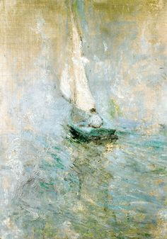 What a beautiful, wonderful painting! Henry Twachtman-Sailing in the Mist John Henry Twachtman - Sailing in the mist Art Amour, Art Ancien, Pierre Auguste Renoir, Wow Art, Art Design, Oeuvre D'art, Painting Inspiration, Painting & Drawing, Boat Painting