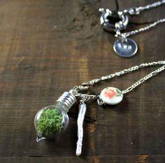 lime green Deer Moss flattened tear pendant