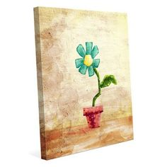 Click Wall Art 'Teal Potted Flower' Painting Print on Wrapped Canvas Size: