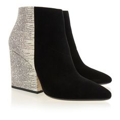 Loeffler Randall Lia Two-Tone Animal Print Block Heel Bootie (455 TND) ❤ liked on Polyvore featuring shoes, boots, ankle booties, animal print, black booties, ankle boots, leather boots, black ankle booties and black pointed toe booties