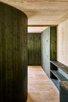 Lilitt Bollinger have converted a former stable in Obstalden, Switzerland into a timber clad home in idyllic mountain surrounds. Clad Home, Hallway Inspiration, Tall Windows, Roof Trusses, Floor Ceiling, Club Design, Restaurant Interior Design, Colorful Interiors, Deco