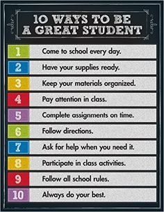 Reinforce good student character traits with this 10 Ways to be a Great Student Chart. The eye-catching, colorful chalkboard design is sure to encourage your learners to be the best students they can be! Chart measures x Classroom Organization, Classroom Management, Champs Behavior Management, Beginning Of School, Back To School, Middle School, Material Didático, Classroom Posters, Classroom Ideas