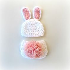 Crochet Bunny Hat and Diaper Cover Photography Prop Set for Spring and Easter. $28.00, via Etsy.