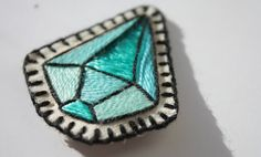 Hand Embroidered Crystal Patch. Small Turquoise Blue Diamond Gem Sew-On Patch or…