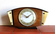 Metamec Mantel clock battery metal brass wood by 20thCenturyParade, £26.00