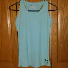 Undo armor racer back tank top Very pretty light blue color. Size youth large. Nice running tank top, light weight. Under Armour Tops Tank Tops