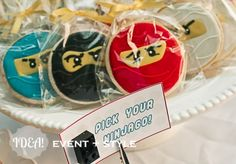 """Lego Ninjago cookies -- good idea to make them in different colors so kids at a small party can """"pick their ninja."""""""